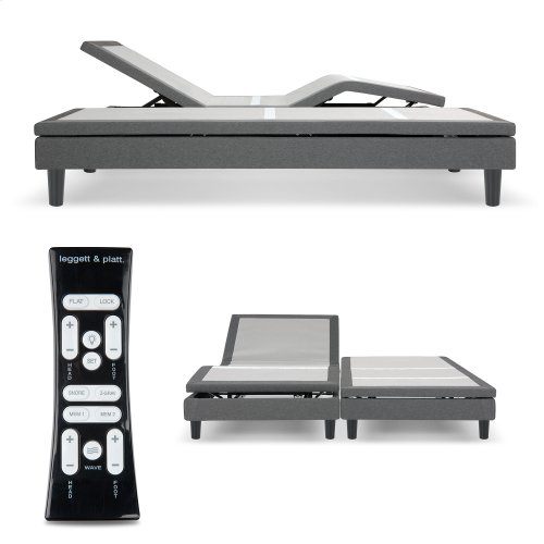 S-Cape 2.0 Adjustable Furniture-Style Bed Base with Wooden Legs and Wallhugger Technology, Charcoal Gray Finish, Split King