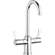 """Elkay Single Hole 12-1/2"""" Deck Mount Faucet with Gooseneck Spout Twin Lever Handles Chrome"""
