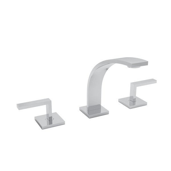 Polished Chrome Wave High Neck Widespread Lavatory Faucet with Metal Lever