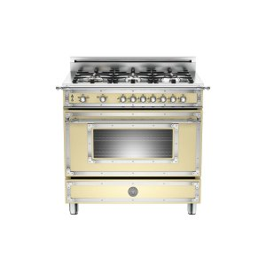 36 inch All Gas Range, 6 Brass Burner Matt Cream - MATT CREAM