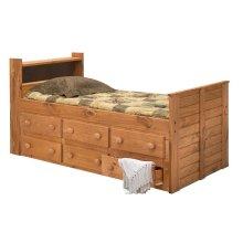 Twin Bookcase Captain Bed w/Trundle Unit
