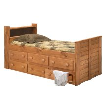 Twin Bookcase Captain Bed w/Trundle Unit