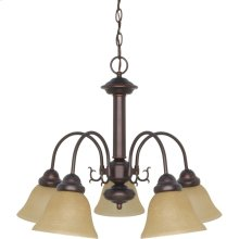 5-Light Mahogany Bronze Chandelier with Champagne Linen Glass
