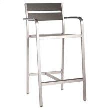 Megapolis Bar Arm Chair Brushed Aluminum