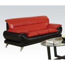Red/bk Bonded Leather Sofa