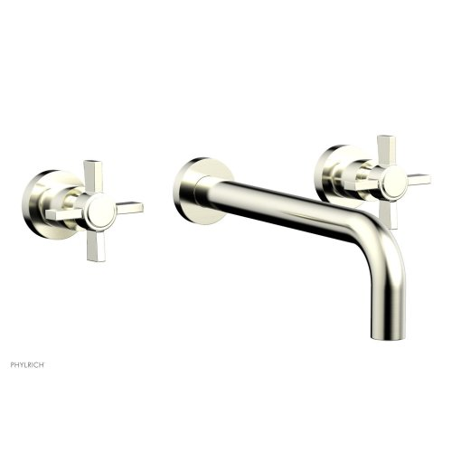 "Basic Wall Tub Set 10"" Spout - Blade Cross Handles D1137-10 - Satin Nickel"