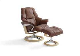 Stressless Reno Medium Signature Base Chair and Ottoman