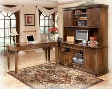"""With rich traditional style infused with a European flair, the sophisticated elegance of the """"Hamlyn"""" home office collection is sure to enhance the beauty of any home office decor. The rich medium brown finish beautifully covers an exquisite cherry veneer that is enhanced with a sophisticated Prima Vera inlay veneer to create an overall traditionally styled design. With the rich look of the antique bronze colored metal hardware, this collection captures the true beauty of grand traditional style furniture. Create a magical atmosphere for your home office with the rich elegant design of the """"Hamlyn"""" home office collection."""