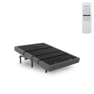 Fashion Bed GroupPlymouth Adjustable Bed Base with Full Bed Tilt and Sectioned Upholstery, Gray Finish, Queen
