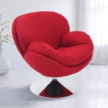 Scoop Leisure Accent Chair in Red Fabric