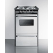 """Slide-in Electric Range In Slim 20"""" Width With Stainless Steel Doors and Black Porcelain Top; Replaces Tem130r"""