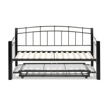 Scottsdale Complete Metal Daybed with Euro Top Spring Support Frame and Pop-Up Trundle Bed, Black Speckle Finish, Twin