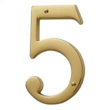 Lifetime Polished Brass House Number - 5