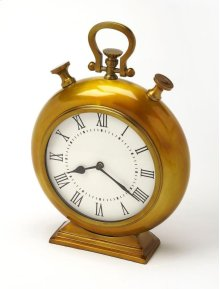 This desk clock is crafted in an chunky gold tone round shape that features Roman numerals over a white face, featuring a kick stand and a sturdy handle. The clock can be placed on any table or shelves , blends with a variety of decor. Makes a great gift