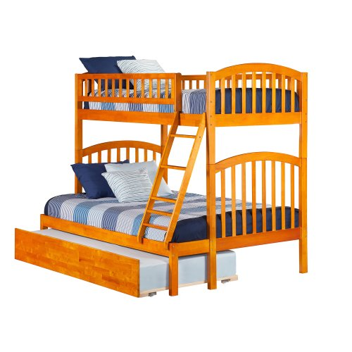 Richland Bunk Bed Twin over Full with Urban Trundle Bed in Caramel Latte