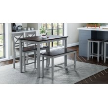 Asbury Park 4-pack - Counter Table With 2 Stools and Bench - Grey /autumn