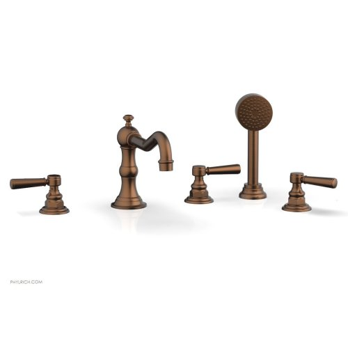 HENRI Deck Tub Set with Hand Shower with Lever Handles 161-49 - Antique Copper
