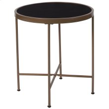 Black Glass End Table with Matte Gold Frame