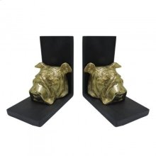 Bulldog Head Bookends Set