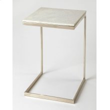 Glamour and minimalism intersect in the design of this modern end table. Elegantly finished in brushed nickel, its iron base supports a cool white marble top.