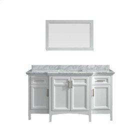 Sassy 60 in. Vanity in White with Marble Vanity Top in Carrara White