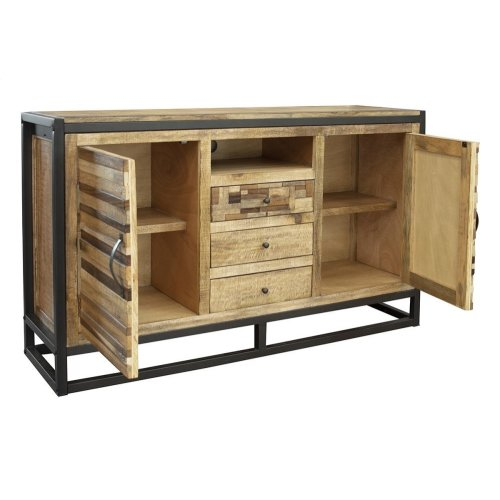 3 Drawer & 2 Doors TV Stand, w/ Iron base
