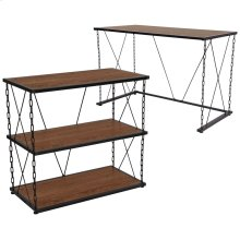 Antique Wood Grain Finish Computer Desk and Two Shelf Bookshelf with Chain Accent Metal Frame