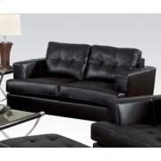 Black Bonded Leather Loveseat Product Image