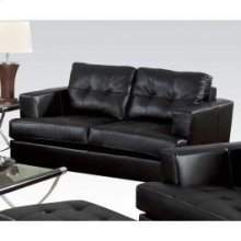 Black Bonded Leather Loveseat