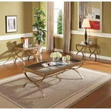 GOLD 3PC PK COFFEE/END TABLE