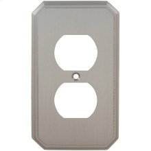 Duplex Receptacle Traditional Switchplate in (US15 Satin Nickel Plated, Lacquered)