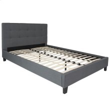 Queen Size Upholstered Platform Bed in Dark Gray Fabric