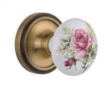 Nostalgic Warehouse - Single Dummy- Classic Rose with Rose Porcelain Knob in Antique Brass