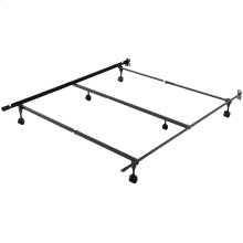 Sentry PC78/60-6R Adjustable Bed Frame with Center Support Bar and (6) Rug Roller / Glide Legs, Powder Coat Finish, Queen - King