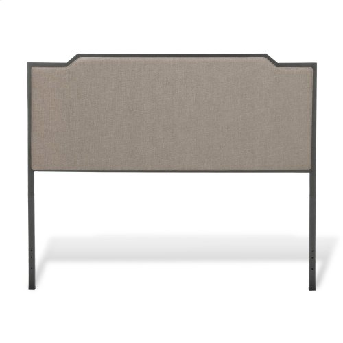 Bayview Metal Headboard and Footboard Bed Panels with Gray Sand Upholstery, Black Pearl Finish, Queen