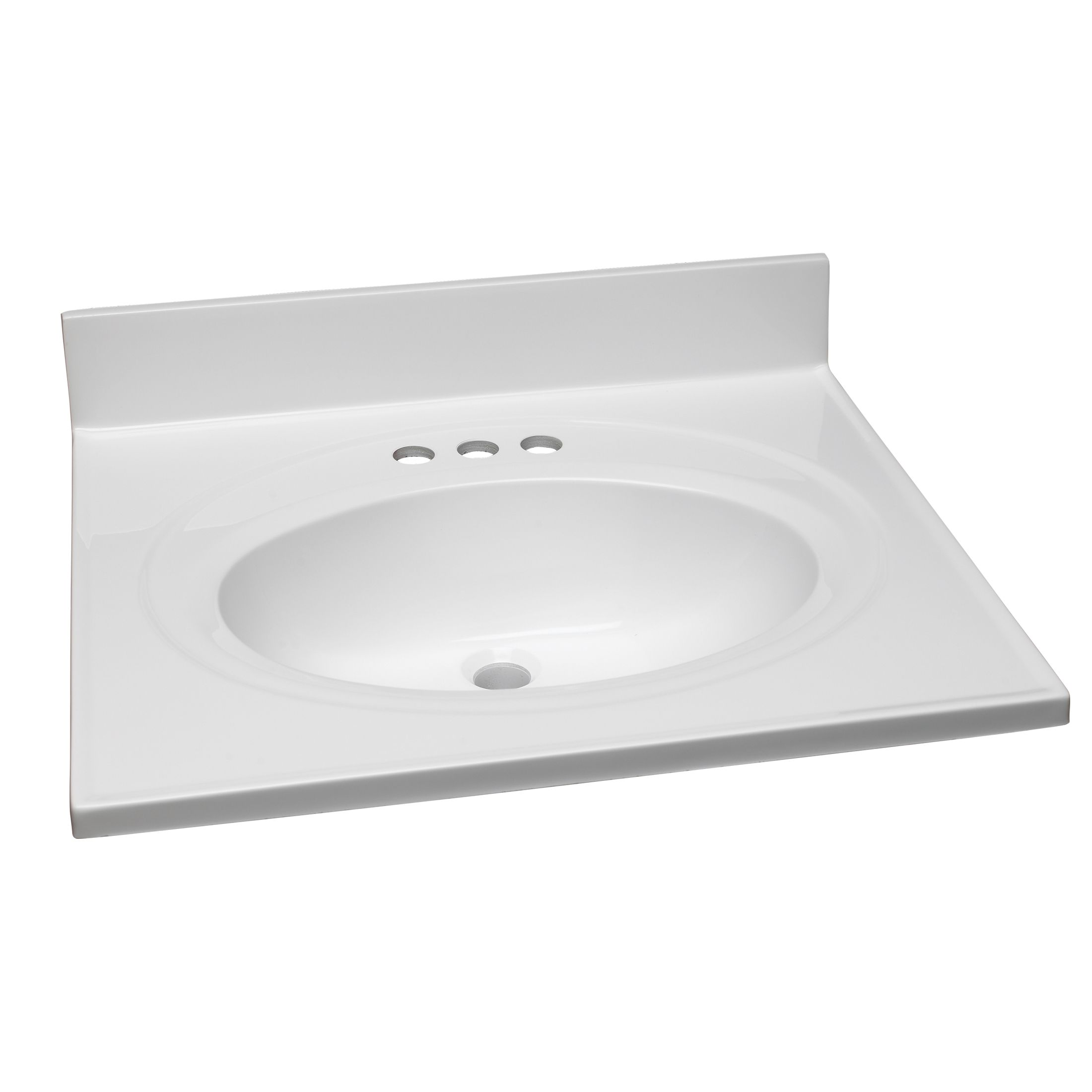 25-Inch by 22-Inch Marble Vanity Top/Single Bowl, Solid White #551366
