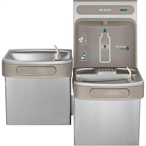 Elkay EZH2O Bottle Filling Station & Versatile Bi-Level ADA Cooler, Non-Filtered Non-Refrigerated Stainless