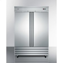 Commercially Approved 46.6 CU.FT. Reach-in Two-door Refrigerator In Complete Stainless Steel; Replaces Scrr490