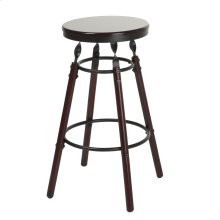 Boston Backless Seat Counter Stool with Dark Cherry Finished Wood Frame, Footrest and Twisted Charcoal Metal Posts, 26-Inch Seat Height