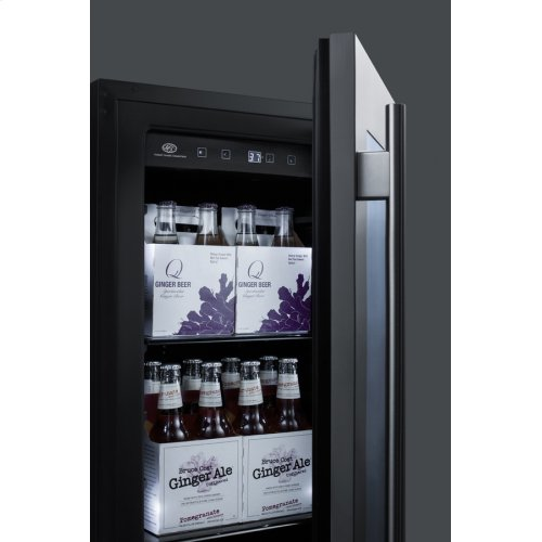 "18"" Wide Built-in Beverage Center With Seamless Stainless Steel Trimmed Glass Door and Stainless Steel Wrapped Cabinet"