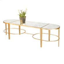 "3 Piece Gold Leaf Sabre Leg Coffee Table With Antique Mirrored Tops. Center Section Measures: 20""d X 40""w X 18""h Half Round End Sections Measure: 14""d X 20""w X 18""h."