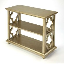 With its open quatrefoil sides, two shelves and open back, this timeless, classic bookcase brings heirloom appeal to the office or living room. Features an striking Silver Leaf finish.