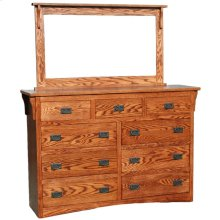 Mission OAK 9 Drawer Dresser & Mirror