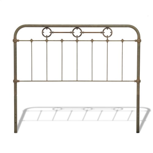 Madera Bed with Metal Panels and Brass Plated Designs, Rustic Green Finish, California King