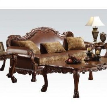 Chenille/pu Sofa W/3 Pillows