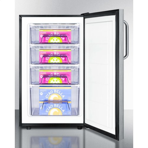 """Commercially Listed 20"""" Wide Built-in Undercounter All-freezer, -20 C Capable With A Lock, Stainless Steel Door, Towel Bar Handle and Black Cabinet"""