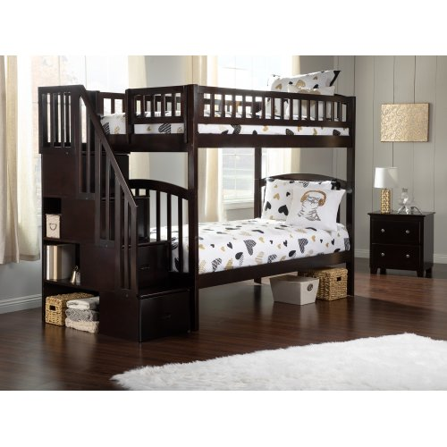 Westbrook Staircase Bunk Bed Twin over Twin in Espresso