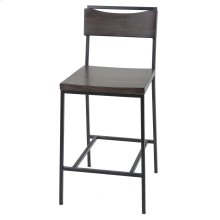 Columbus Counter Stool with Black Matte Finished Metal Frame, Footrest and Black Cherry Colored Wood Seat, 26-Inch Seat Height