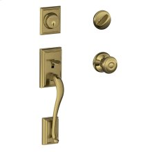 Addison Single Cylinder Handleset and Georgian Knob - Antique Brass