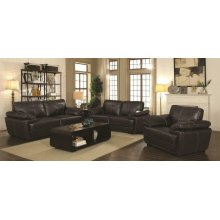 Zenon Brown Leather Two-piece Living Room Set